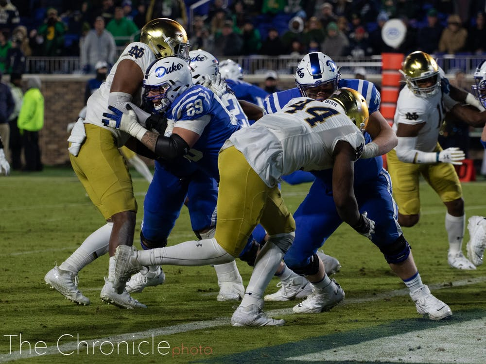 <p>Duke will need to improve in the trenches this week.</p>