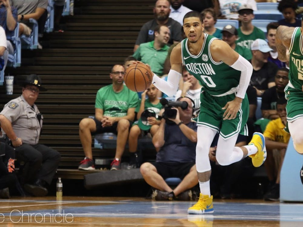Jayson Tatum is leading the Celtics in points and rebounds so far.