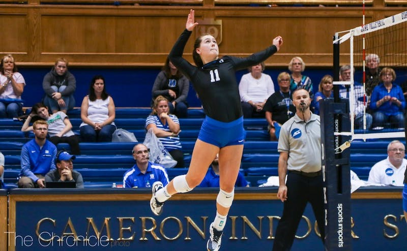 Payton Schwantz led the Blue Devils in kills against North Carolina with 18.