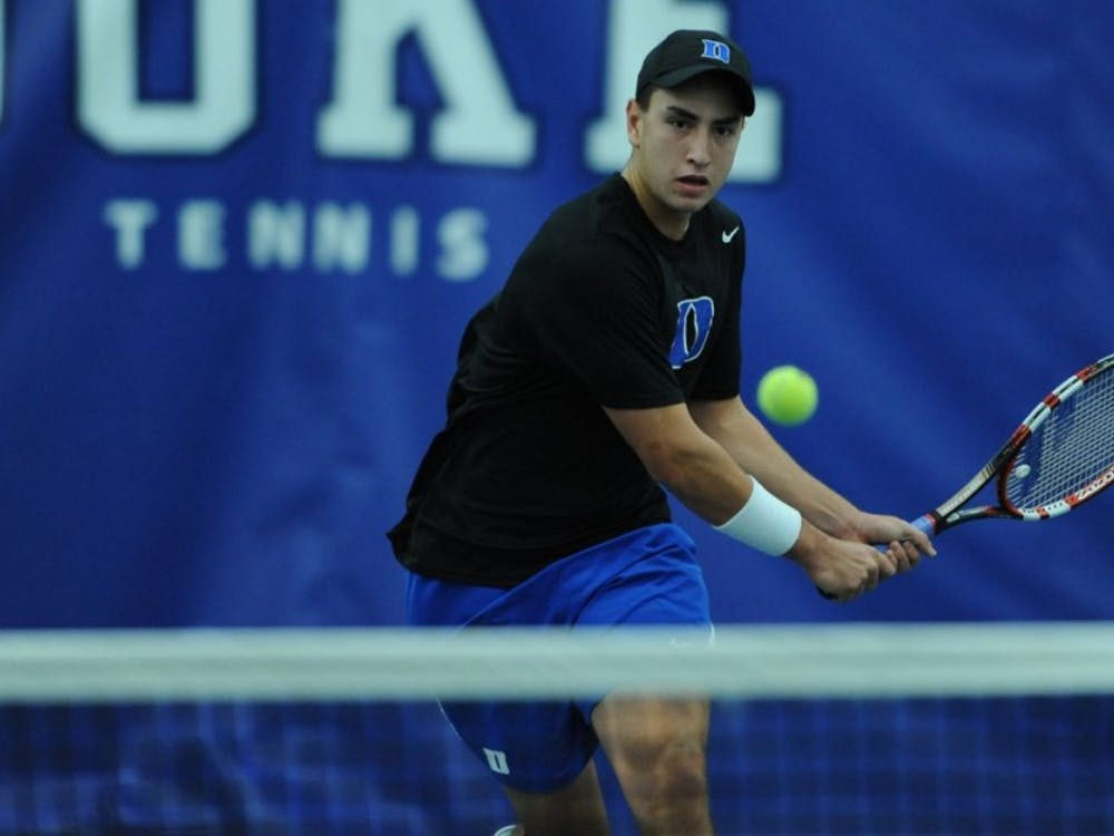 Sophomore captain Nicolas Alvarez made quick work of Elon's Felipe Sarrasague on the top singles court as the Blue Devils cruised to a 6-1 victory Friday.
