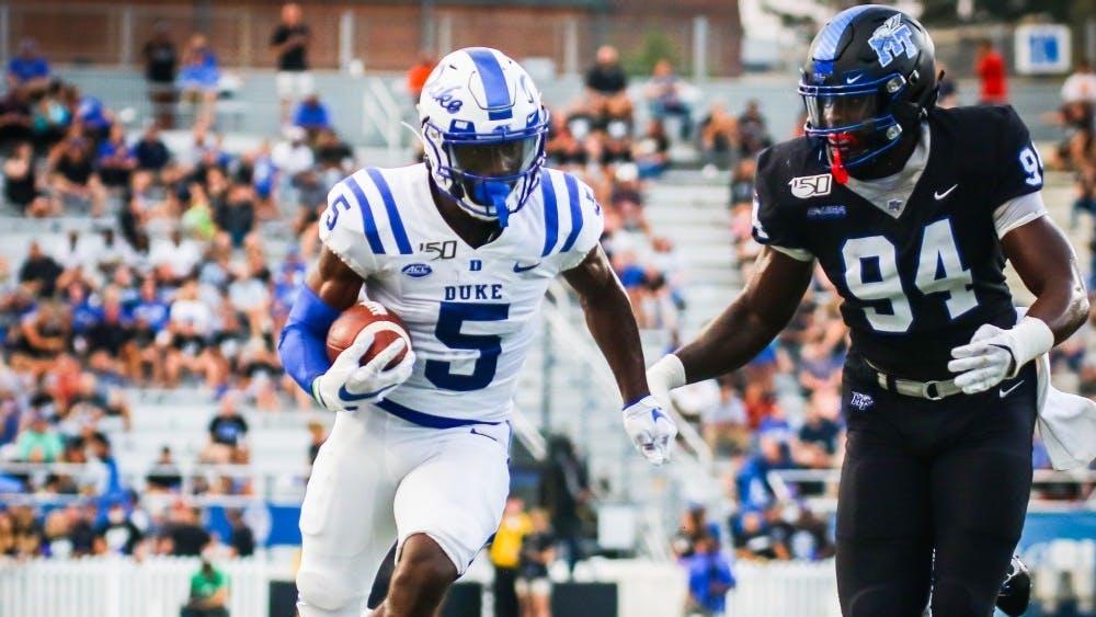 Freshman Jalon Calhoun leads the Blue Devils with three receiving touchdowns this season.