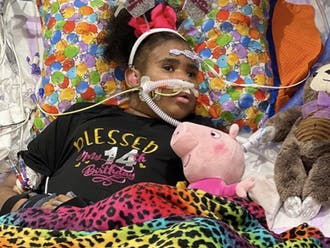 """Jaynzra """"Nae"""" Rice was hospitalized at Duke earlier this year with breathing difficulties and received a left ventricle assist device that helps the heart pump."""