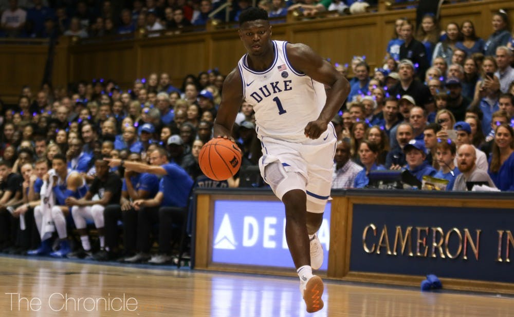 <p>Zion Williamson capped the Blue Devils' recruiting class with his decision to commit to Duke last January.</p>