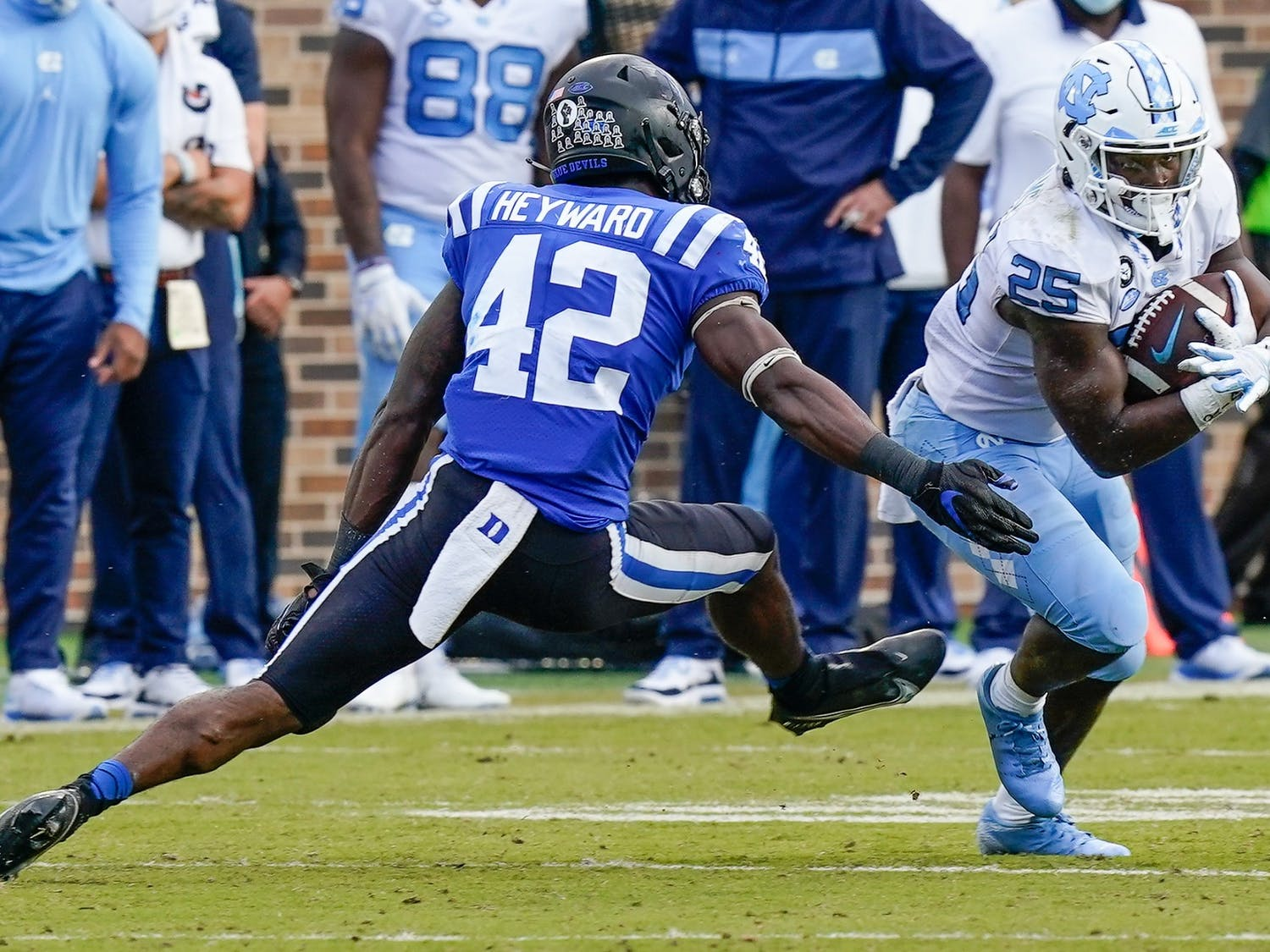 Duke couldn't contain North Carolina's run game, allowing the Tar Heels to break free for 338 rushing yards Saturday.