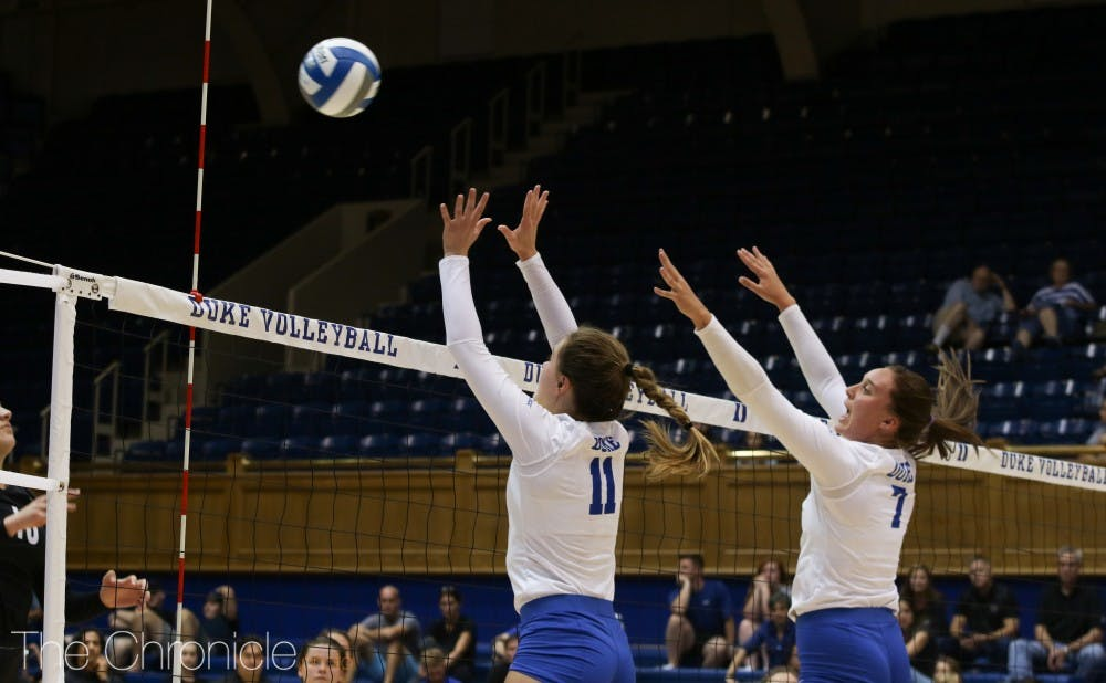<p>Leah Meyer has emerged as a consistent blocker for the Blue Devils.</p>