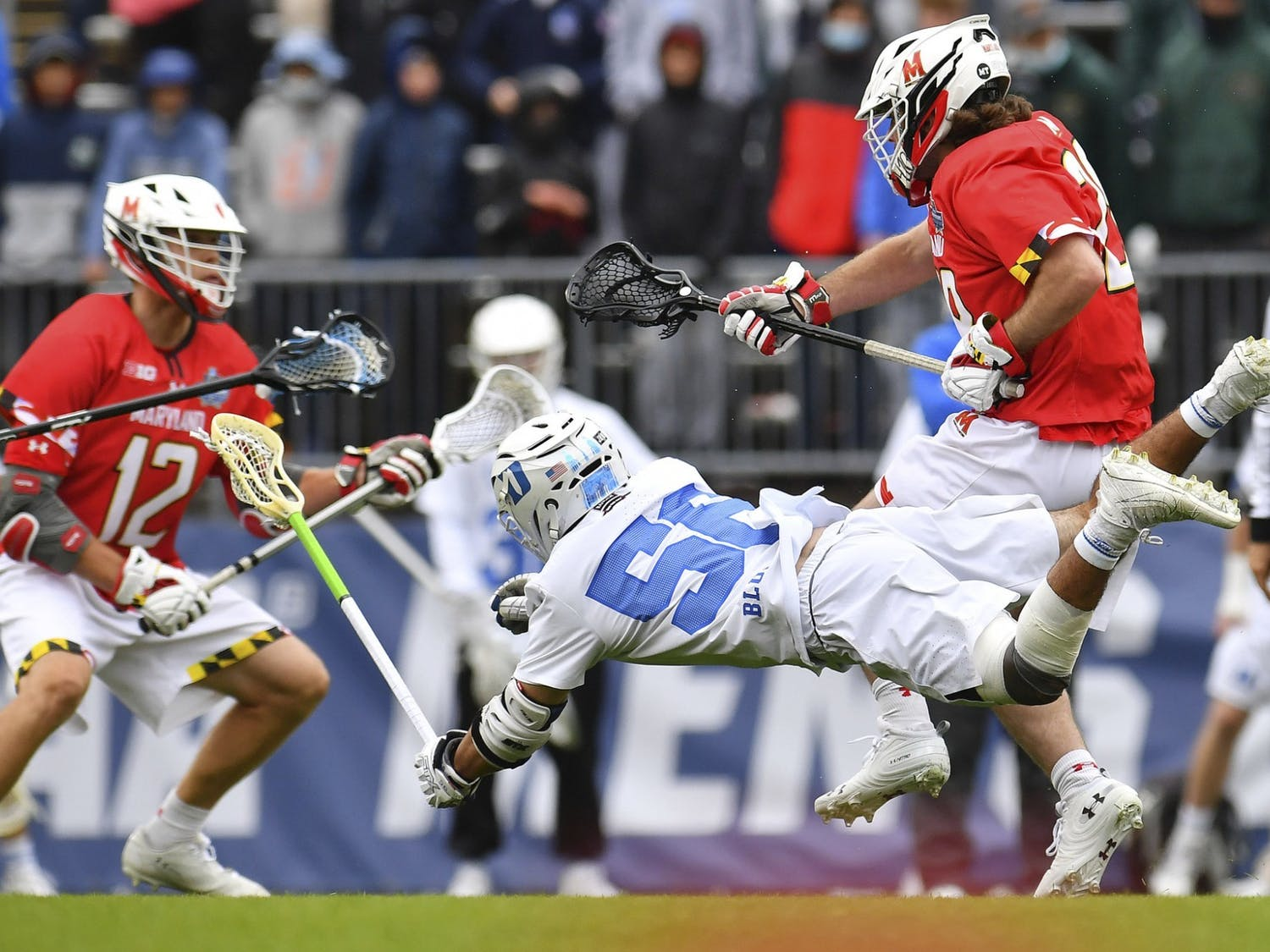 Despite Jake Naso's rise this season, the Blue Devils went just 10-for-22 on faceoffs in their 14-5 loss to Maryland.
