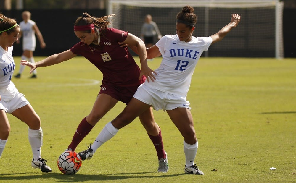 <p>Freshman Kayla McCoy scored her team-leading sixth goal of the season in the second half Thursday to propel Duke to a 1-0 win against Miami—the Blue Devils' first in ACC play.</p>