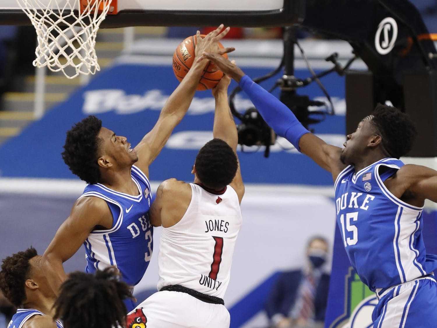 One of the biggest keys to Duke's win Wednesday was keeping Louisville guard Carlik Jones out of the paint.