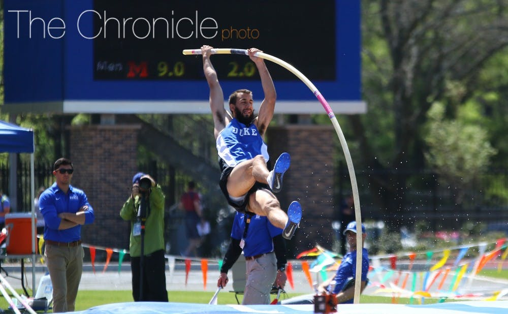 <p>Connor Hall and the Blue Devils posted several top-10 finishes in their first outdoor meet of 2017.&nbsp;</p>