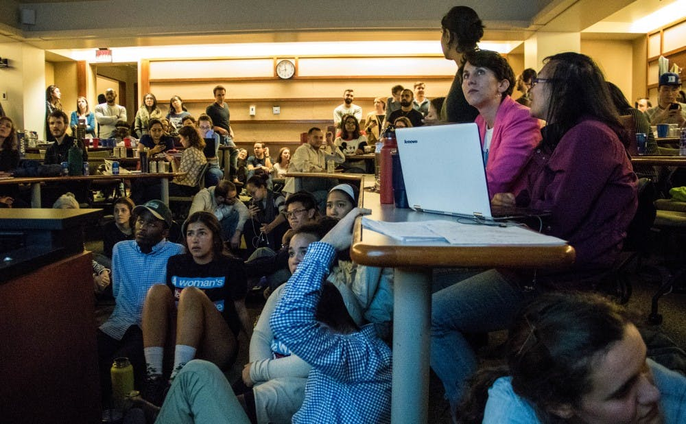 <p>Students gathered in the Sanford School of Public Policy to watch election results come in, with many noting their shock at the outcomes.</p>