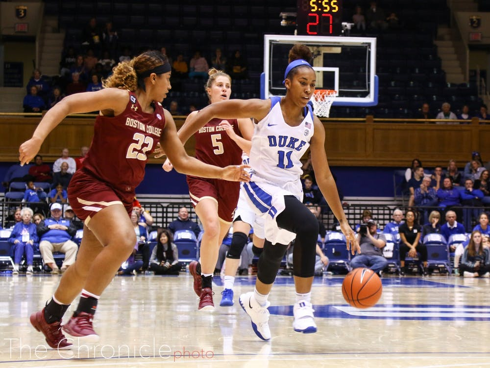 Duke Women's Basketball played Boston College at Cameron Indoor Stadium. The Blue Devils won the home game, final score 85-73.