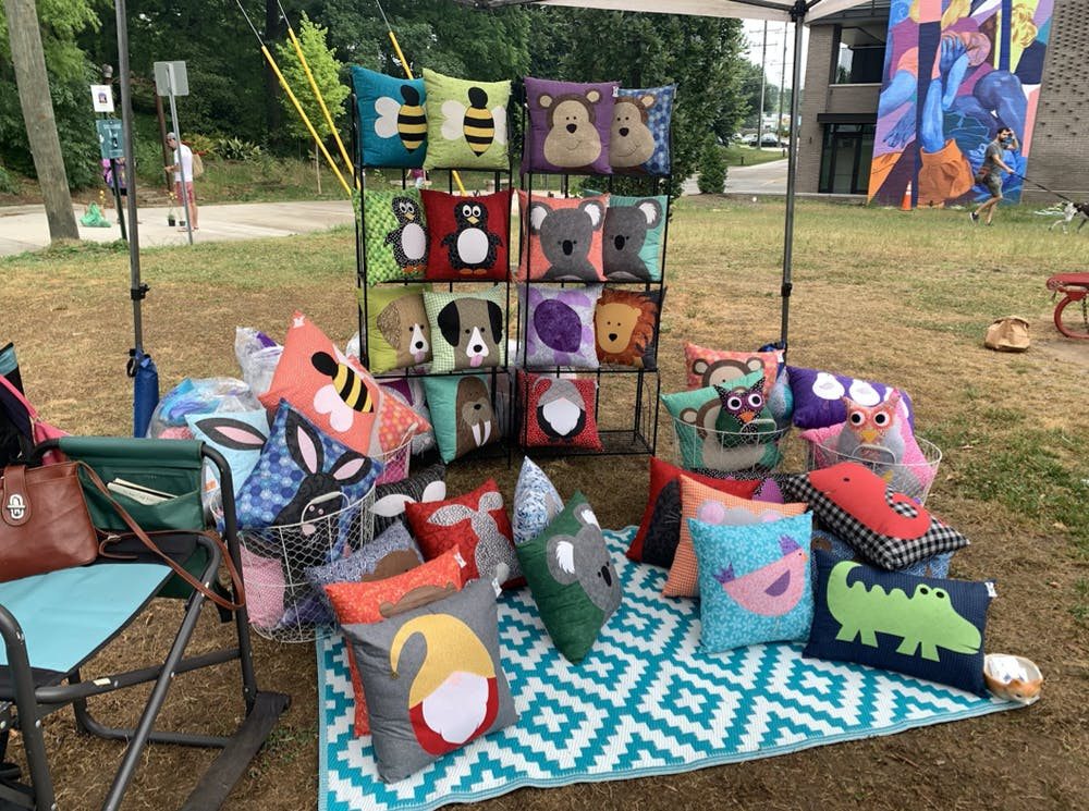"""<p>Marianne Donohue says she gets inspiration for her pillows by seeing animals that she likes. Her business has grown by requests such as, """"Hey, can you make a walrus?""""</p>"""