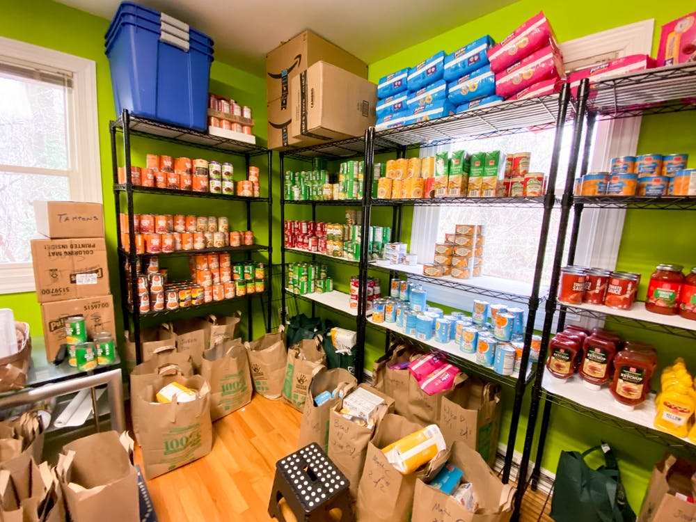 <p>The Community Pantry's stockroom where volunteers fill bags for weekly pickup.</p>