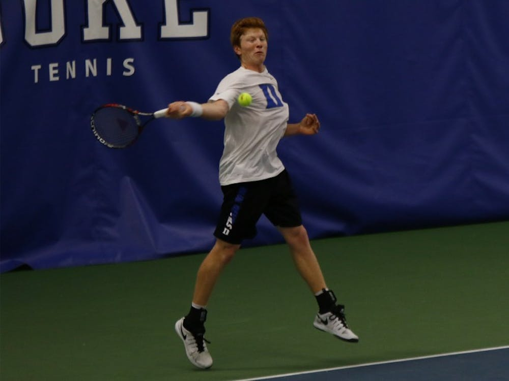 Freshman Ryan Dickerson teamed with Nicolas Alvarez to win their doubles match in Duke's loss at Vanderbilt, where head coach Ramsey Smith reshuffled his doubles pairings.