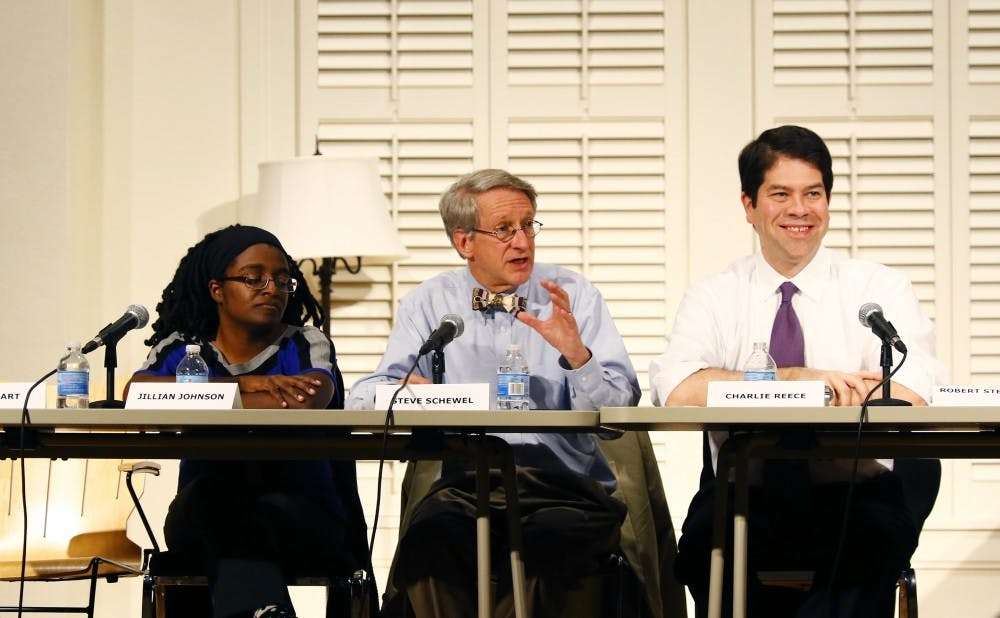 <p>Two of the three Durham City Council candidates present at Thursday's forum on East Campus graduated from Duke. </p>