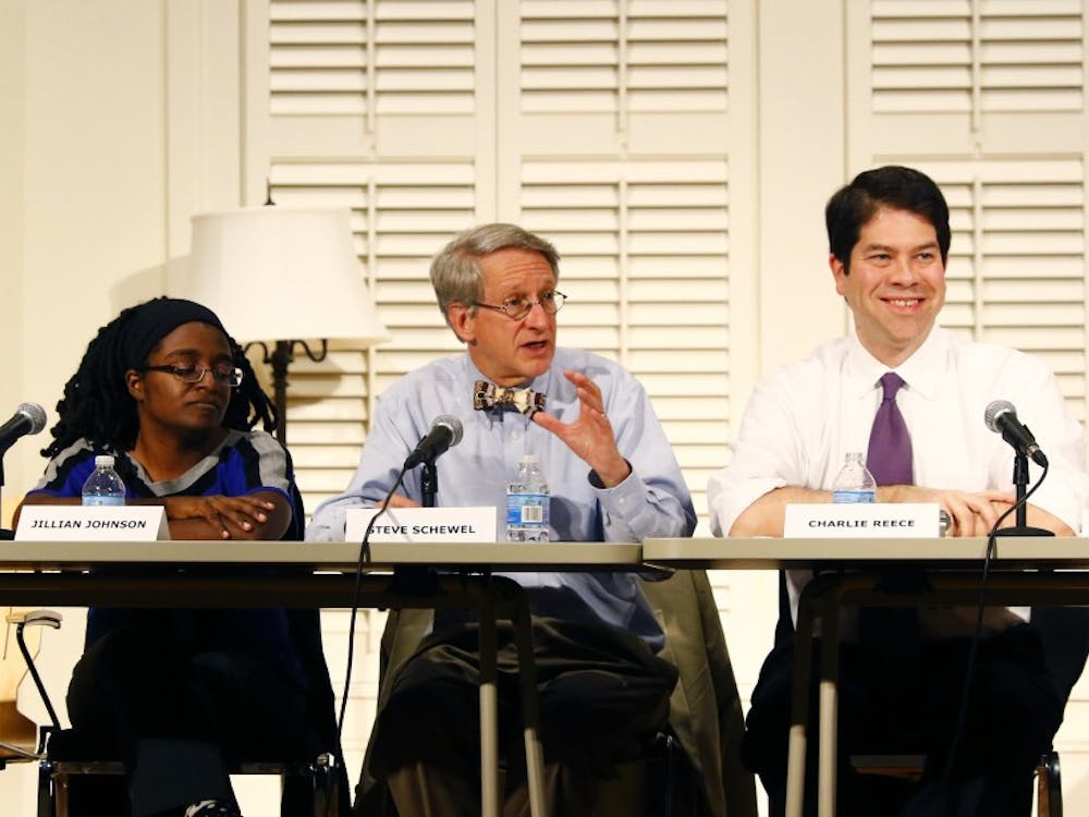 Two of the three Durham City Council candidates present at Thursday's forum on East Campus graduated from Duke.