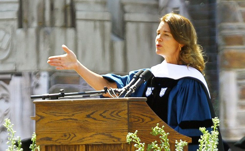 <p>Melinda Gates addresses the crowd at Duke's 2013 commencement ceremony. The Bill and Melinda Gates Foundation made a $20 million donation to the Duke Global Health Institute.&nbsp;</p>