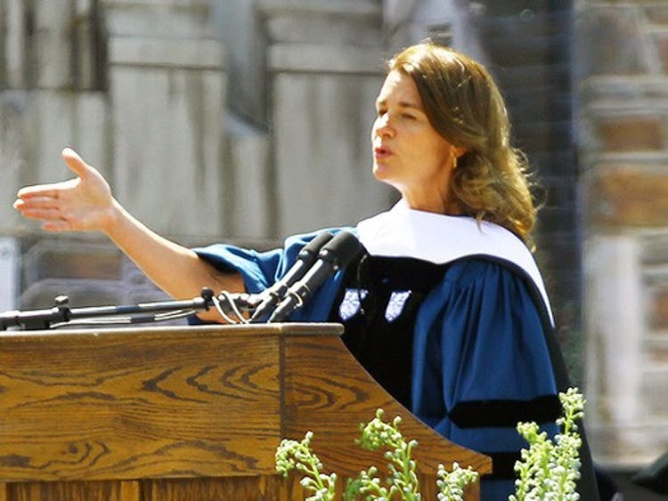 Melinda Gates addresses the crowd at Duke's 2013 commencement ceremony. The Bill and Melinda Gates Foundation made a $20 million donation to the Duke Global Health Institute.