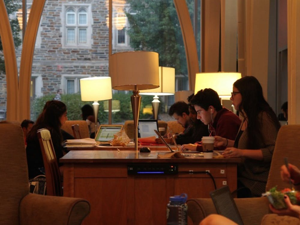 Duke students embrace a variety of study spots, ranging from Von der Heyden Pavilion to the fourth floor of Perkins to Cocoa Cinnamon.