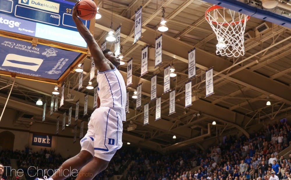 <p>Zion Williamson was a force to be reckoned with on the glass in the first half.</p>