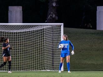 Duke goalkeeper Ruthie Jones had five saves against Virginia Thursday night.