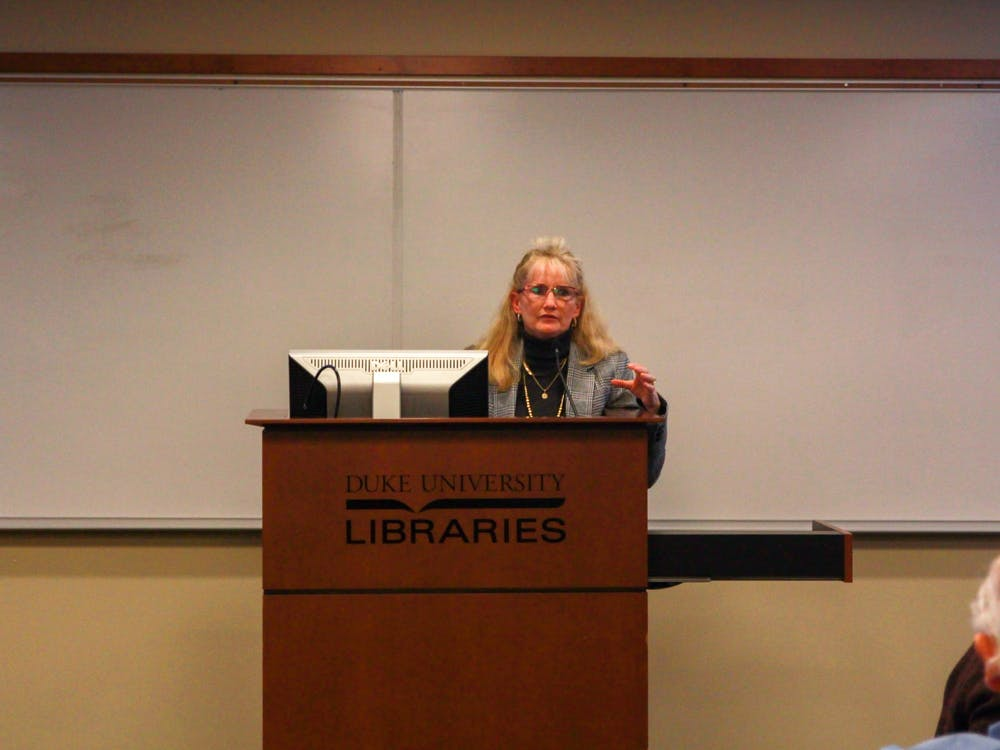 <p>Susan Wynn, associate professor of the practice of education, speaking at Arts and Sciences Council.</p>