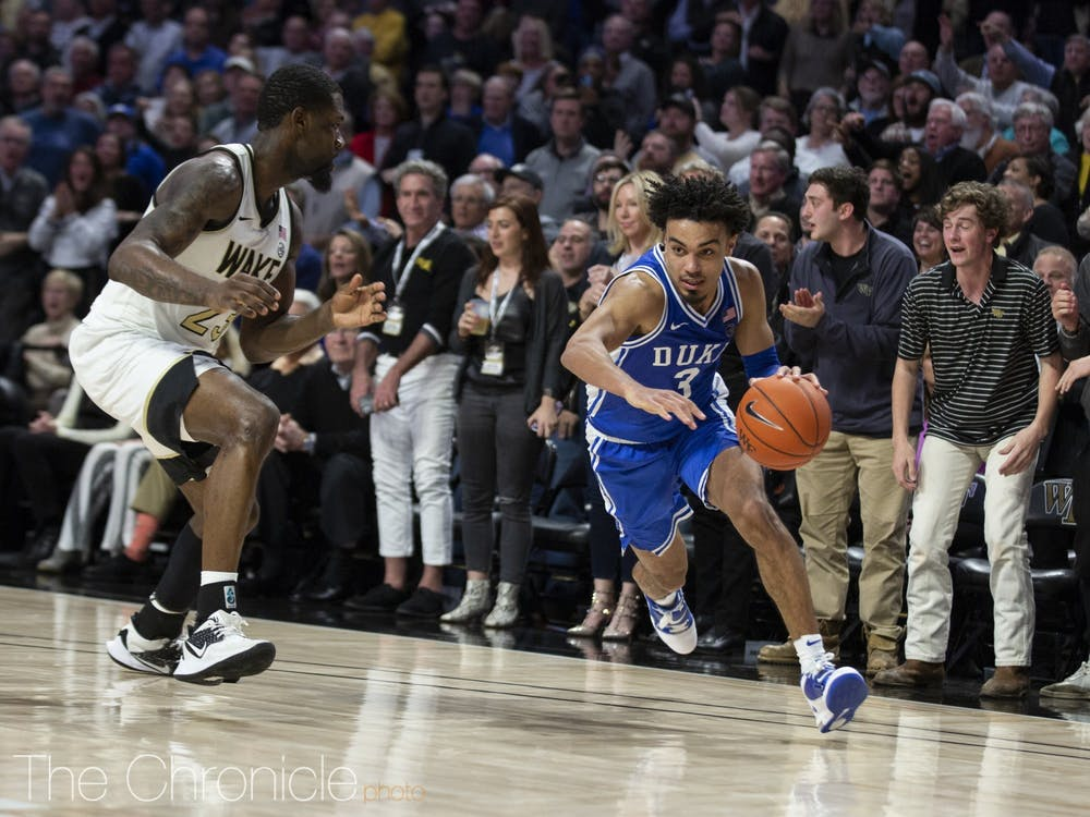 Sophomore point guard Tre Jones will be instrumental in pushing the pace of play Saturday against Virginia.