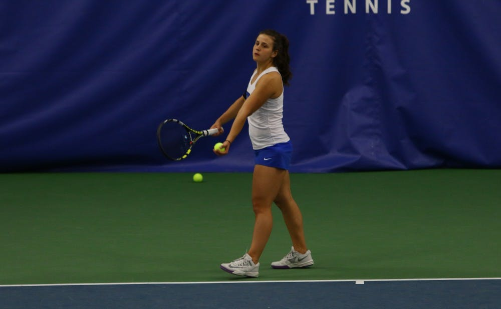 <p>With senior Beatrice Capra out with an illness, sophomore Samantha Harris will look to lead the Blue Devils in the ACC tournament.</p>