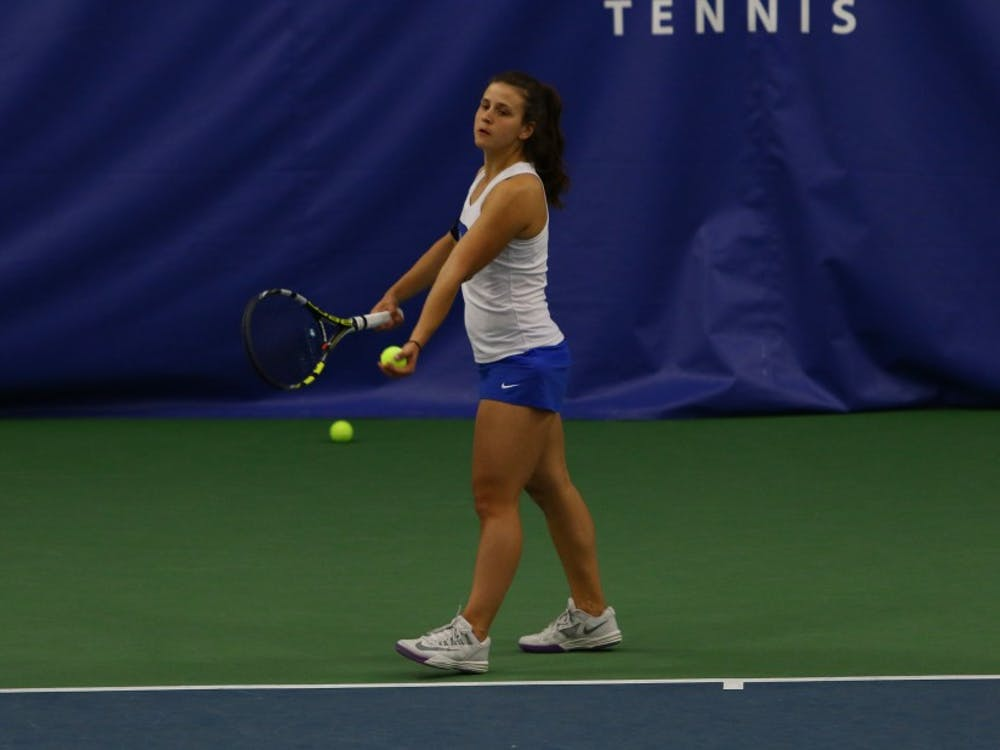 With senior Beatrice Capra out with an illness, sophomore Samantha Harris will look to lead the Blue Devils in the ACC tournament.