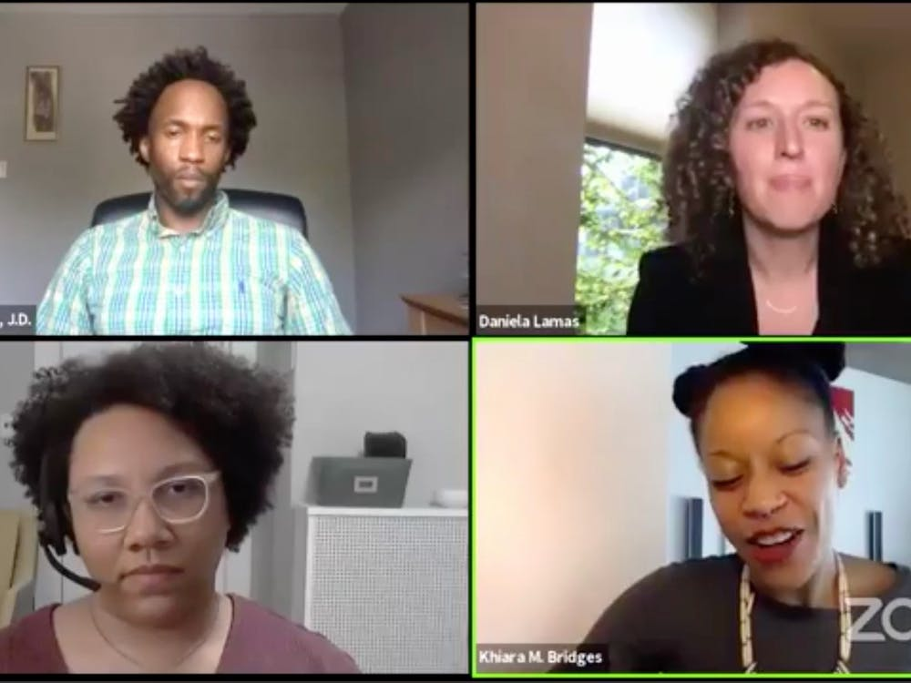 <p>Clockwise from top left: Thomas Williams, senior lecturing fellow at the School of Law, moderated a Thursday panel on racism in health care with Daniela Lamas, a pulmonary and critical care physician; Khiara Bridges, a law professor at UC Berkeley; and Sylvia Perry, an assistant professor of social psychology at Northwestern.&nbsp;</p>
