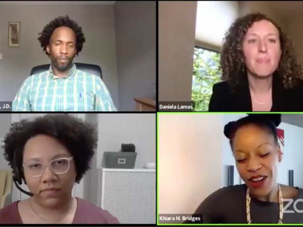 Clockwise from top left: Thomas Williams, senior lecturing fellow at the School of Law, moderated a Thursday panel on racism in health care with Daniela Lamas, a pulmonary and critical care physician; Khiara Bridges, a law professor at UC Berkeley; and Sylvia Perry, an assistant professor of social psychology at Northwestern.