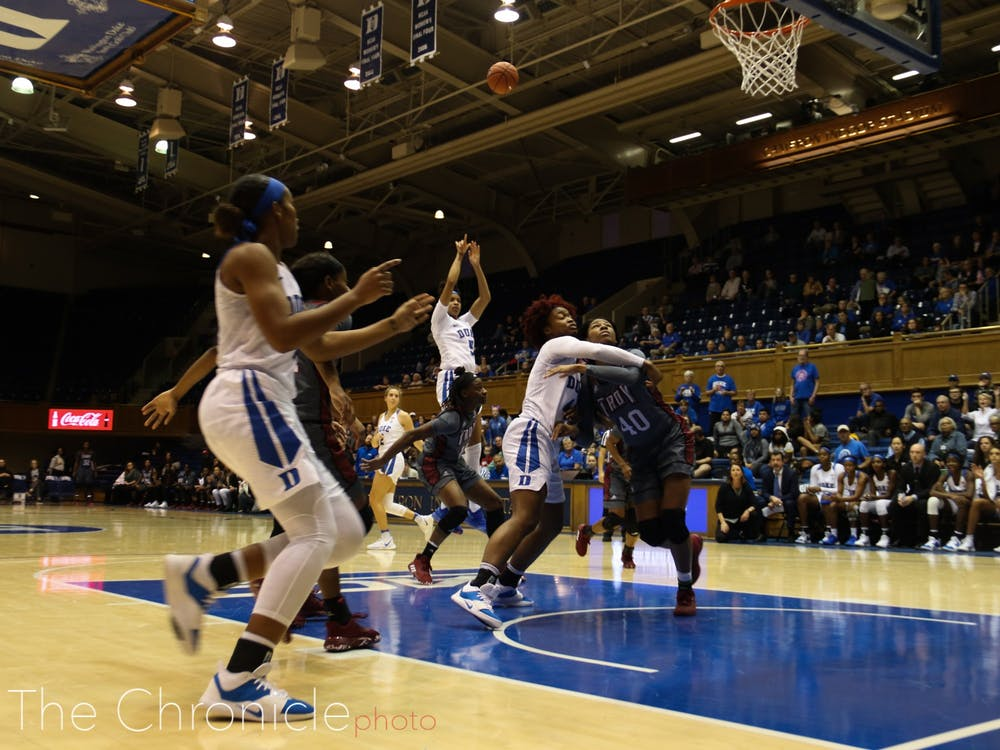 Duke's Women's Basketball team played an intense game against Troy's team–a game you wouldn't want to miss. But if you weren't able to watch them play, look through some of Photographer Erin Blanding's and Features Photo Editor Michelle Tai's best shots from the game!