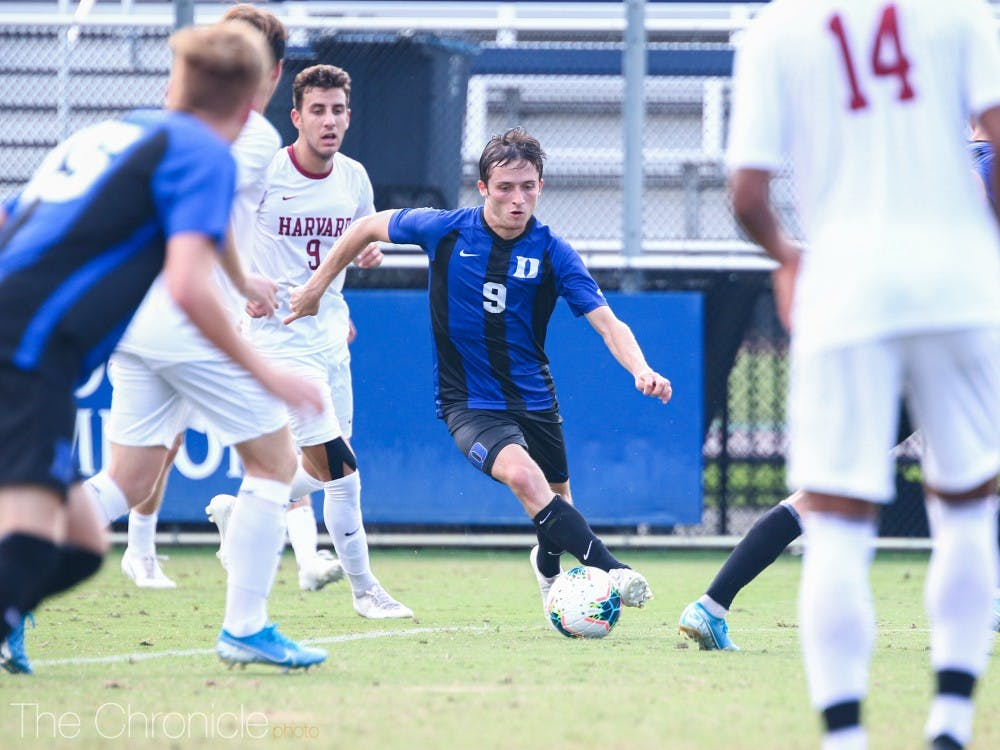 Daniele Proch scored two of Duke's three goals on the evening against Harvard, his second straight game with two goals.