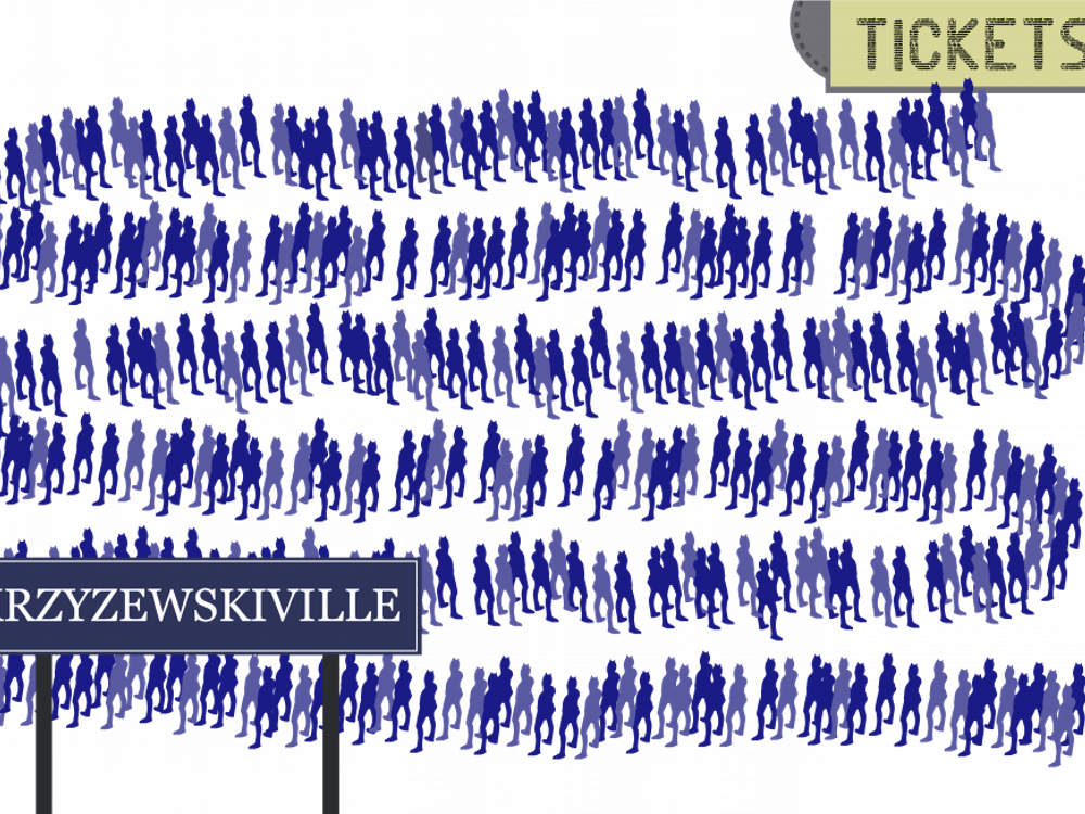 The line monitors coiled the ticket line for Countdown to Craziness this year in order to clear space in the Krzyzewskiville area.