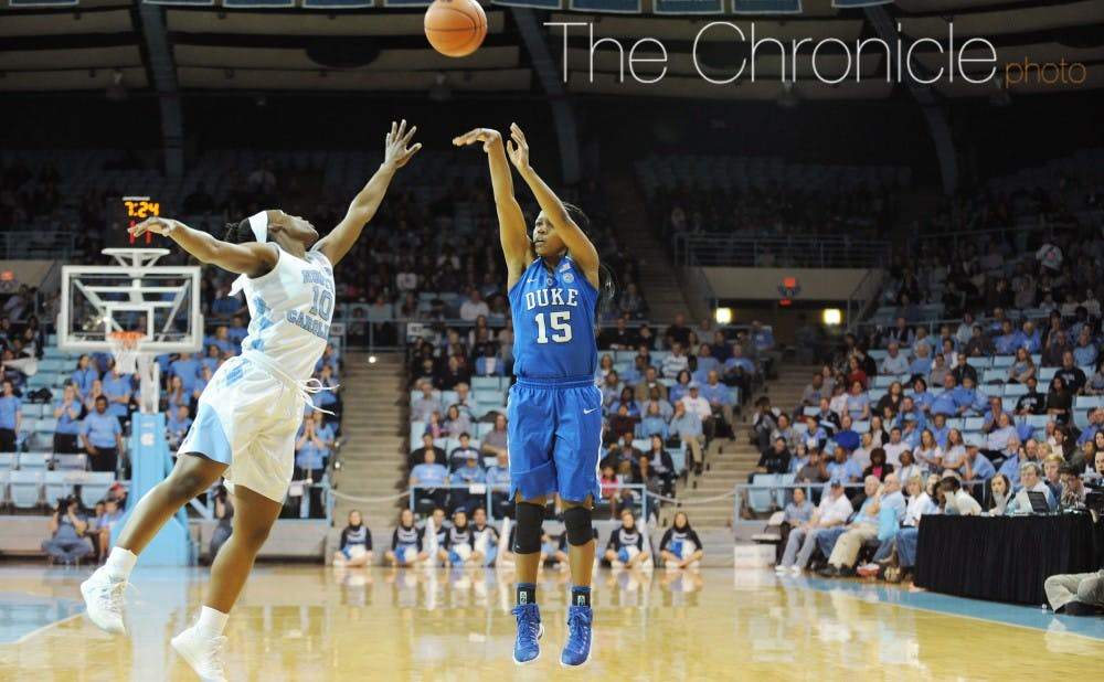<p>Sophomore Kyra Lambert fueled the Blue Devils' 30-assist effort with 13 of her own&mdash;a career-high. She added 12 points for her first career double-double.</p>