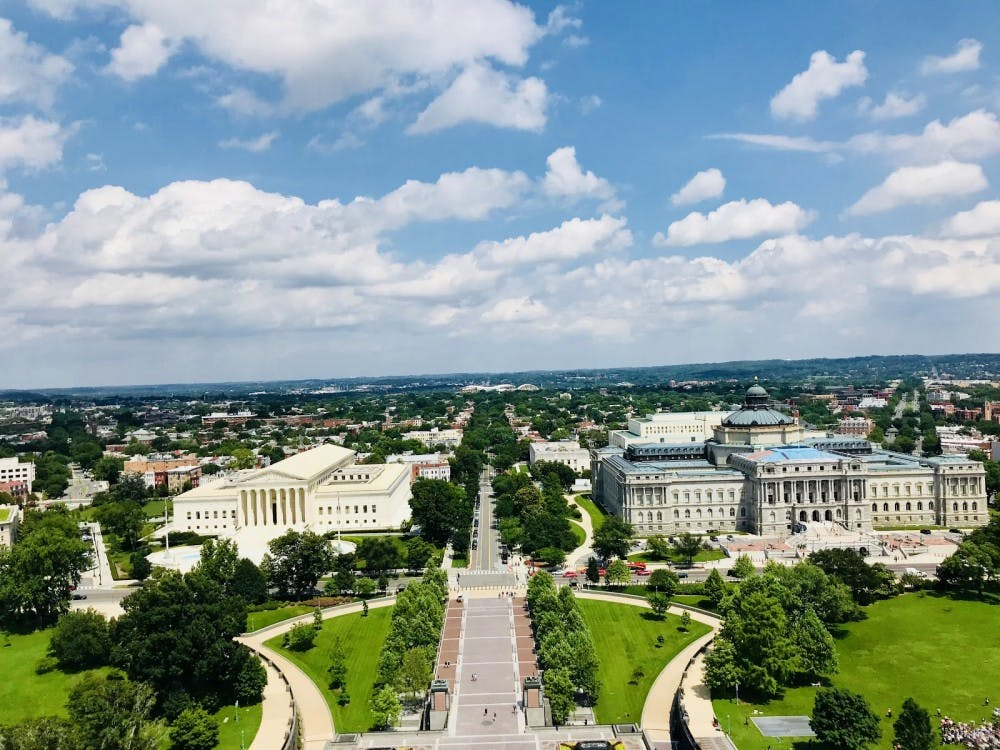 The view of the Supreme Court building from the top of the U.S. Capitol dome in June 2018