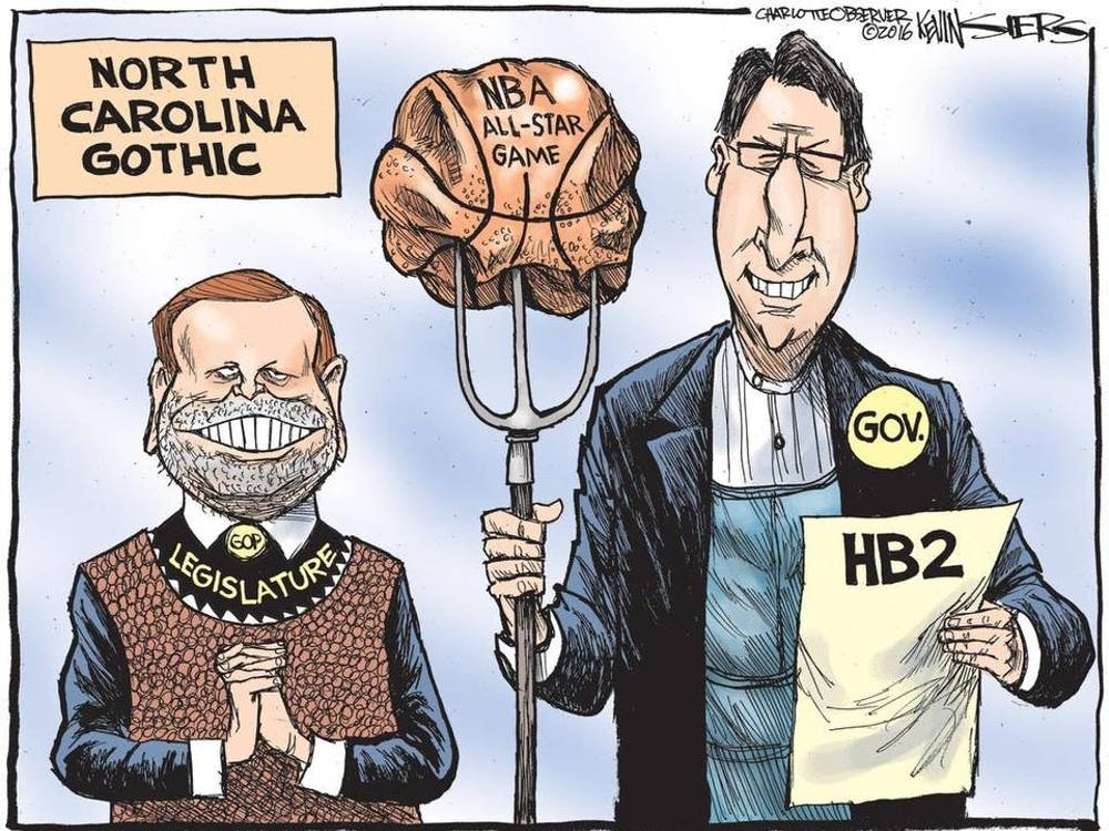 """Panel discussion """"Bathroom Banter"""" focused on HB2 and how it is depicted in political cartoons."""