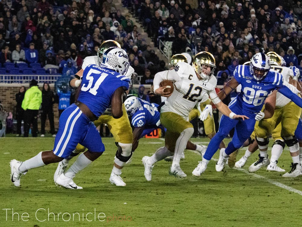 Preventing Notre Dame quarterback Ian Book from running wild like he did last year will be key if Duke hopes to pull off the upset.