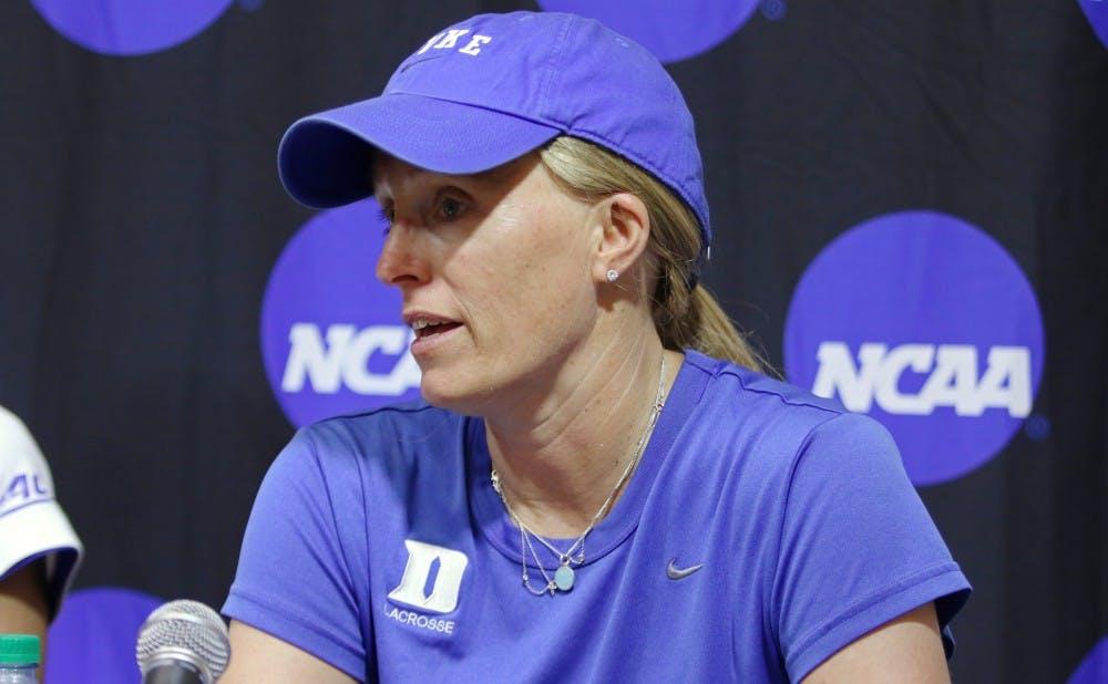 <p>Women's lacrosse headcoach Kerstin Kimel is one of seven female head coaches at Duke.</p>