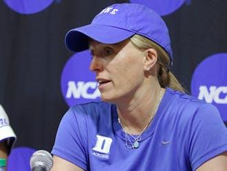 Women's lacrosse headcoach Kerstin Kimel is one of seven female head coaches at Duke.