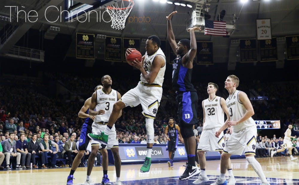 <p>Notre Dame forward Bonzie Colson earned first-team All-ACC honors after keeping his team in the upper echelon of conference powers by gobbling up rebounds and using an array of post moves in the paint.&nbsp;</p>