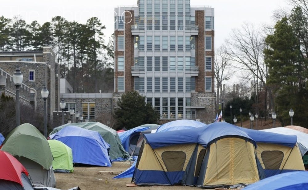 <p>Krzyzewskiville is at full capacity for tenting with the North Carolina game just eight days away.&nbsp;</p>