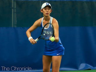 Meible Chi won her match 6-0, 6-0 in an all-around stellar performance for Duke.