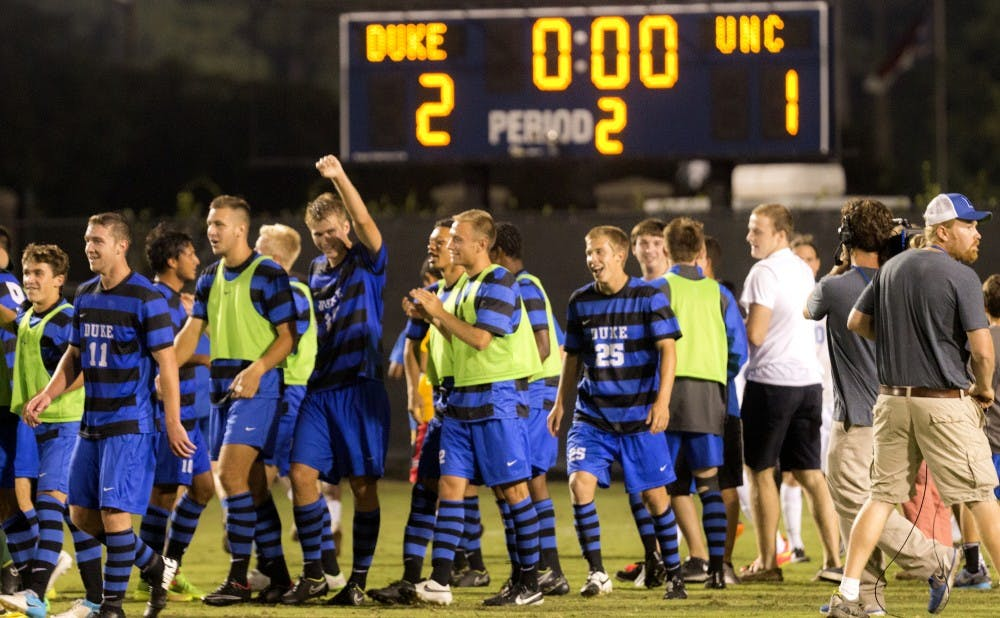 Duke pulled off the upset of rival No. 1 North Carolina Friday in front of a rowdy Koskinen Stadium crowd.
