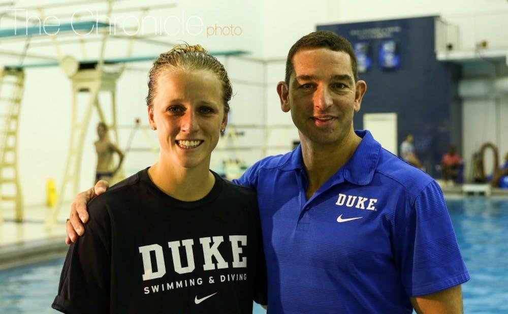 <p>Duke diving head coach Nunzio Esposto was with Johnston in Rio as part of the U.S. coaching staff.&nbsp;</p>