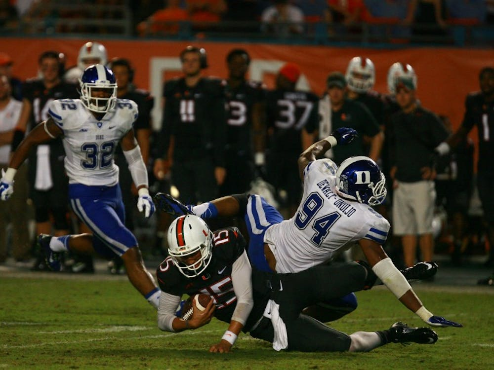 Redshirt senior defensive end Jordan Dewalt-Ondijo and the Blue Devils will look to push past a  Syracuse offensive line decimated by injuries Saturday at the Carrier Dome.