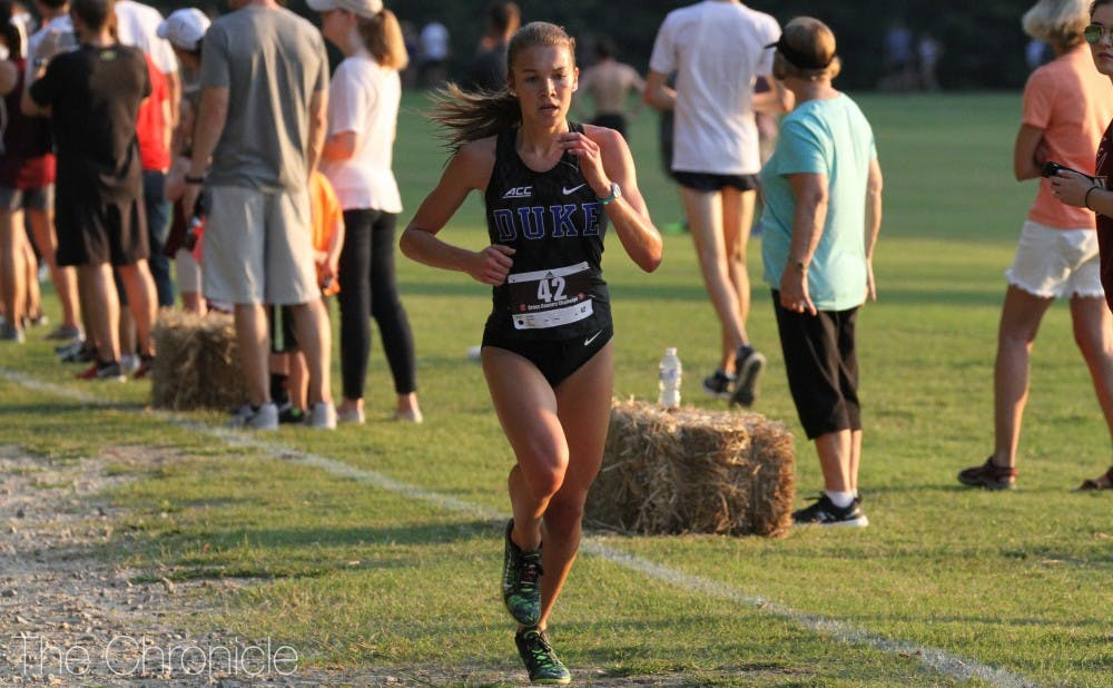 <p>Freshman Amanda Beach has been one of the Blue Devils' top two runners all season alongside classmate Michaela Reinhart.</p>