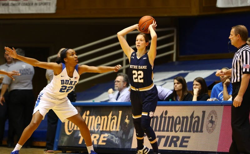 Notre Dame guard Madison Cable scored 18 points and did not commit a turnover in the Fighting Irish's win in Durham Feb. 1.