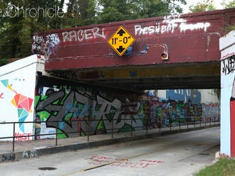 The East Campus bridge. This photo was not taken on the day of the Oct. 19 vandalism incident.