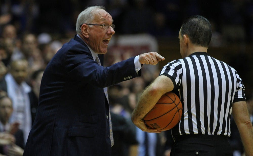 Syracuse head coach Jim Boeheim was ejected from the second meeting after the controversial charge call on C.J. Fair.
